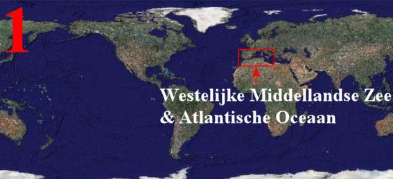 1)  De kaart van de wereld met daar op het Middellandse Zee & Atlantische Oceaan gebied
