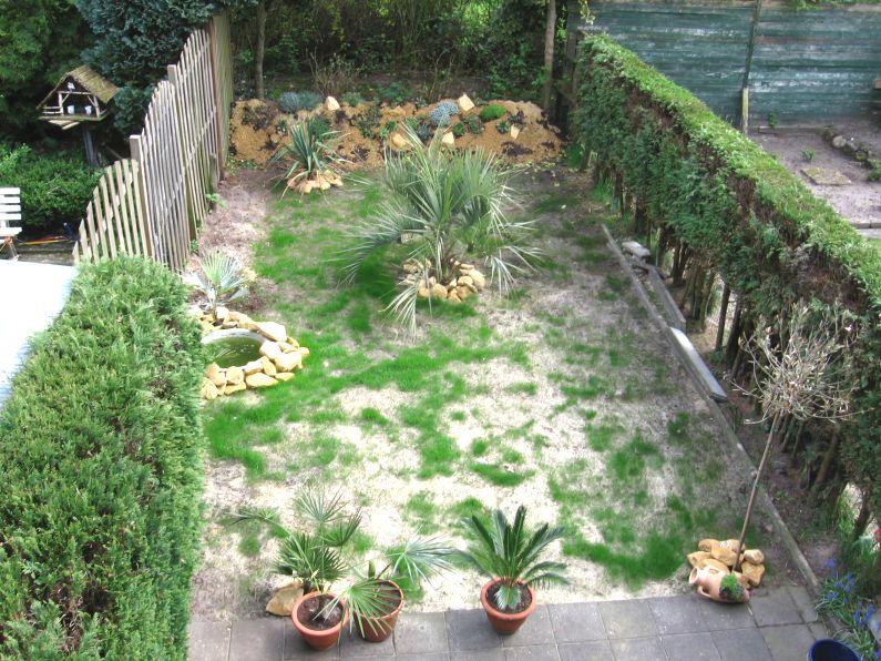 Hier begint de tuin meer vorm te krijgen en is het gras aan het opkomen