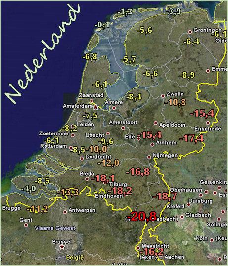 De koude kaart van nederland op 7 januari 2009